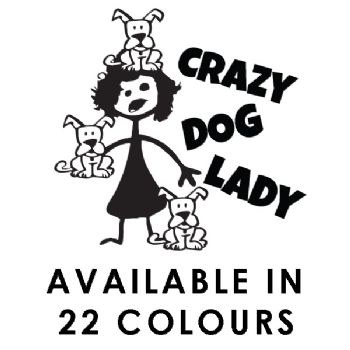 Crazy Dog Lady Car Sticker Funny Vinyl Decal Window Laptop